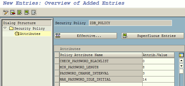 Security policy attribute maintenance