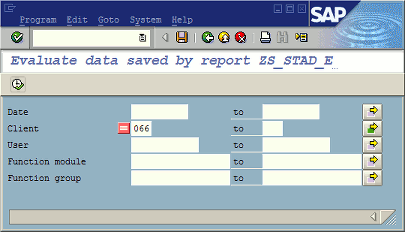 Selection screen of report ZS_STAD_EXTRACT_RFC_CALLS