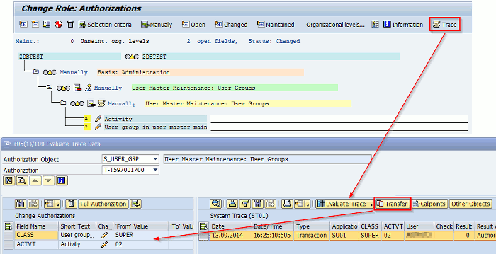 Import STAUTHTRACE result in role authorization data