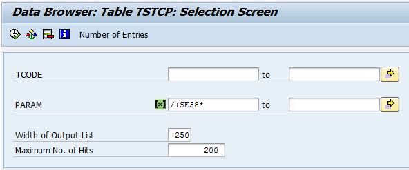 Selection for table TSTCP